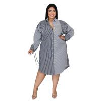 Women Plus Size Clothes Turn-down Neck Striped Midi Shirt Dress