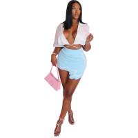 Sexy Pit Print Irregular Mini Skirt