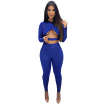 Sexy Cross Cutout Sports Two Piece Women Clothing Set with Hollow Out