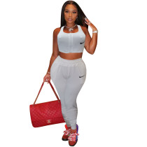Embroidered Clothing Women 2021 Sports Vest Outfits Jogger Two Piece Set