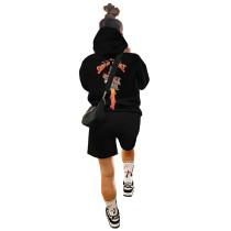 Casual Long Sleeve Printed Hoodie Sweatwear and Shorts