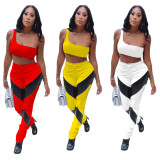 Casual Stitching Imitation Leather Single Shoulder Two Piece Set