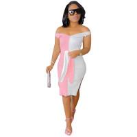 Fashion Off Shoulder Pit Stitching Color Midi Dress