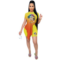 Casual Positioning Print Gradient Two Piece Outfits