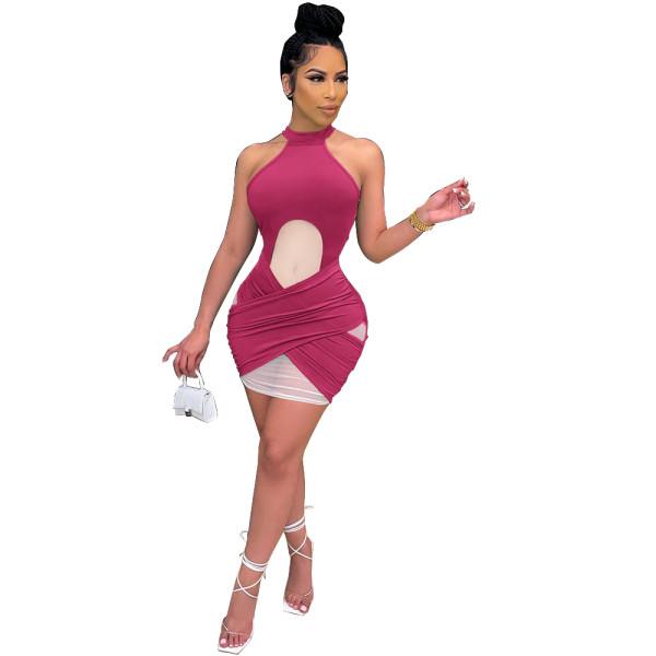 Sexy Hollow Mesh Club Dress