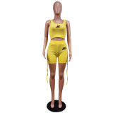 Tie Rope Pit Vest Set Women Clothing 2021 Fashion Printed