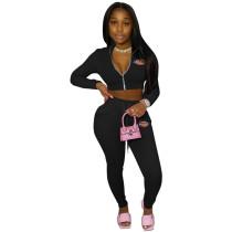 Autumn Turn-down Neck Printed Sportswear Two Piece Pant Set For Women