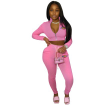 Casual Turn-down Neck Printed Sportswear Two Piece Pant Set For Autumn