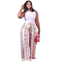 Printed Long Wide-leg Pants with Pocket