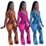 Autumn V Neck Print Dyed Long Sleeve Jumpsuit