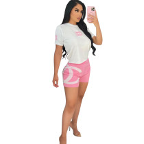 Casual Print Letter Short Two Piece Set
