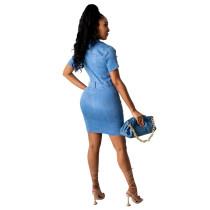 Casual Stretch-breasted Denim Mini Dress