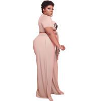 XL-5XL Plus Size Stores Fashion Fat Lady Print Two Piece Set