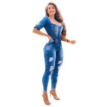 Casual Puff Sleeve Denim Jet White Ripped Jumpsuit