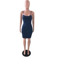 Sexy Sling Polka Dot Denim Short Dress