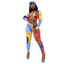 Sexy Printed Paisley Jumpsuit with Headkerchief