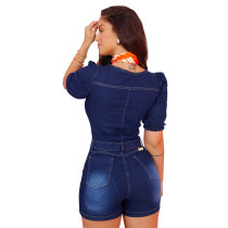 Casual Denim Romper with Ripped Holes