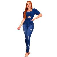 Slim Short Sleeve Ripped Pleated Denim Jumpsuit