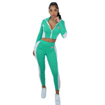 Casual High Neck Offset Printed Sportwear Pant Set with Zipper