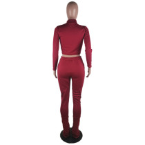 Solid Color Wine Red Zipper Velvet Two-piece Set with Pocket
