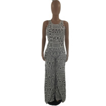 Casual Two Piece Clothing Sleeveless Printed Pant Set with Pocket