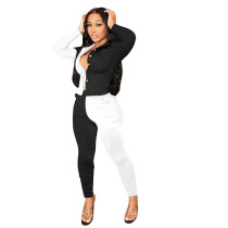 Black and White Stitching Color Turn-down Neck Long Pant Set