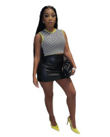 Solid Color Leather Skirt with Back Zipper
