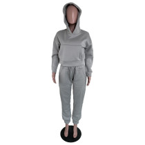 Casual Grey Thick Sweatshirt Hoodie Two Piece Set