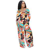 Autumn Printed Invisible Zipper Jumpsuit with Pocket