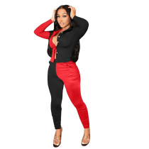 Red and Black Stitching Color Turn-down Neck Long Pant Set