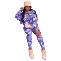 Casual Two Piece Outfits Printed Round Neck Shirt and Trousers