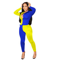 Yellow and Blue Stitching Color Turn-down Neck Long Pant Set