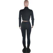 Solid Color Black Zipper Velvet Two-piece Set with Pocket