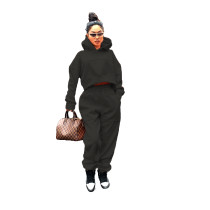Casual Black Thick Sweatshirt Hoodie Two Piece Set