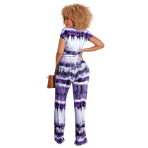 Casual Printed Tie-dye Bandage Two Piece Set with Wide-leg