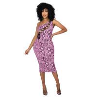 Eyelet Bandage Leopard Print Midi Dress with Hollow
