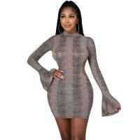 Autumn Long Sleeve Ruffled Print Mini Dress