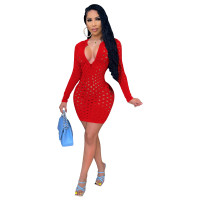 Solid Color Long Sleeve Hollow Club Dress
