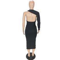 Fashion One Shoulder Long Sleeve Mid Dress