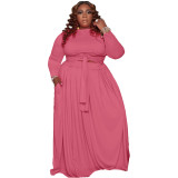 Two Piece Set Plus Size Bandage Blouse and Long Skirt with Pocket
