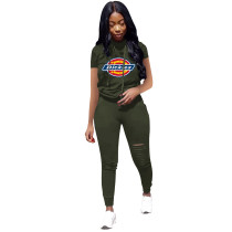 Casual Short Sleeve Printed 2 Piece Pant Clothing Set