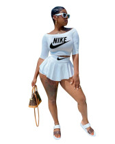 Sports Midi Sleeve Printed Culottes Skirt Two Piece Set