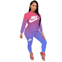 Casual Printed Gradient Pants Set Women Clothing 2021 Fall