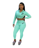 Fall Two Piece Hooded Zipper Printed Pants Set Women Clothing