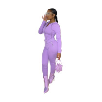 Casual Hoodie Zipper Long Sleeve Sports Two Piece Outfits Set