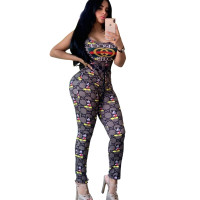 Casual Floral Print Vest and Trousers