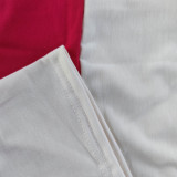Offset Color Block Stitching Hoodie Sportswear Short Sets