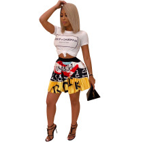 Trendy Printed T-shirt and Pleated Skirt