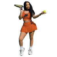 Casual Embroidered Letter Sports Tennis Vest and Pleated Skirt