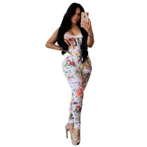 Casual Floral Printed Vest and Trousers 2 Pcs Set
